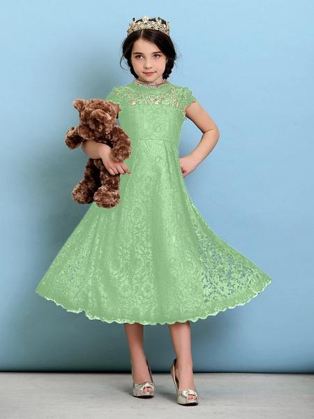 Princess / A-Line Jewel Neck Tea Length Lace Junior Bridesmaid Dress With Pleats / Natural_30