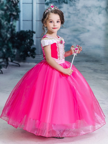Ball Gown Floor Length Wedding / Party Flower Girl Dresses - Tulle Sleeveless Jewel Neck With Solid_5