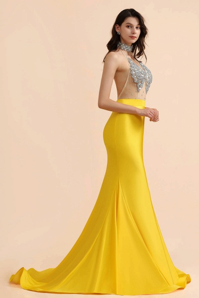 Mermaid Sexy Yellow Crystals Sheer Tulle Prom Dresses_3