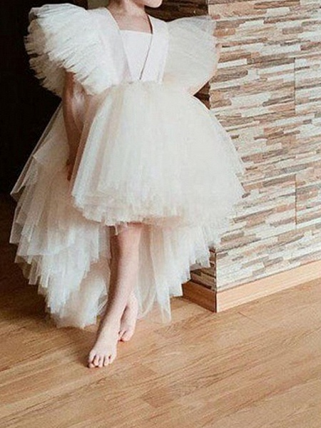 Princess / Ball Gown Knee Length Wedding / Party Flower Girl Dresses - Tulle Short Sleeve / Sleeveless V Neck With Tier / Appliques_2