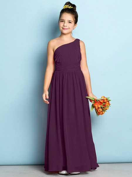 A-Line One Shoulder Ankle Length Chiffon Junior Bridesmaid Dress With Side Draping / Natural / Mini Me_16