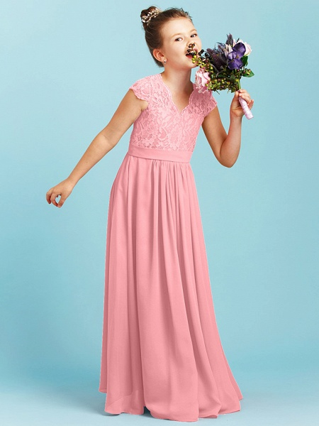 Princess / A-Line V Neck Floor Length Chiffon / Lace Junior Bridesmaid Dress With Sash / Ribbon / Pleats / Wedding Party_21