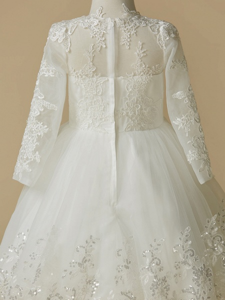 Princess Knee Length Wedding / First Communion Flower Girl Dresses - Lace / Tulle Long Sleeve Jewel Neck With Lace / Appliques_5