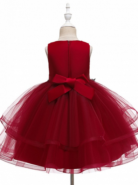 A-Line Knee Length Wedding / Party / Pageant Flower Girl Dresses - Tulle / Matte Satin / Poly&Cotton Blend Sleeveless Jewel Neck With Beading / Solid_10