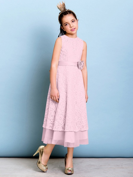 A-Line Jewel Neck Tea Length All Over Floral Lace Junior Bridesmaid Dress With Sash / Ribbon / Bow(S) / Flower / Natural_10