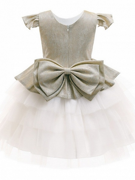Princess / Ball Gown Knee Length Wedding / Party Flower Girl Dresses - Tulle / Mikado Cap Sleeve Jewel Neck With Bow(S) / Tier_3