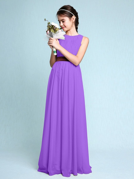 Sheath / Column Scoop Neck Floor Length Chiffon Junior Bridesmaid Dress With Draping / Natural_31