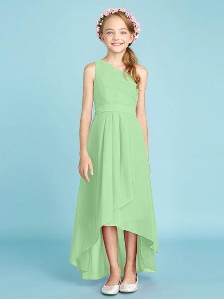 A-Line One Shoulder Asymmetrical Chiffon Junior Bridesmaid Dress With Sash / Ribbon / Bow(S) / Side Draping / Natural_32