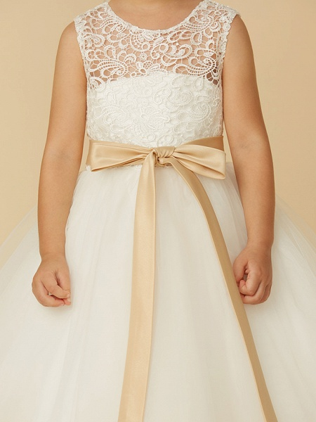 Princess Tea Length Wedding / First Communion Flower Girl Dresses - Lace / Tulle Sleeveless Jewel Neck With Sash / Ribbon / Bow(S)_8