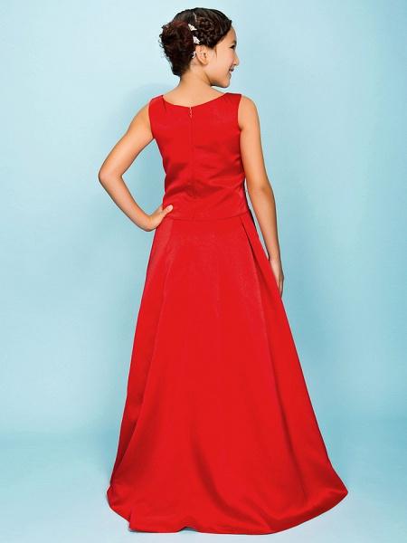 Princess / A-Line Bateau Neck Floor Length Satin Junior Bridesmaid Dress With Criss Cross / Beading / Draping / Spring / Summer / Fall / Apple / Hourglass_4