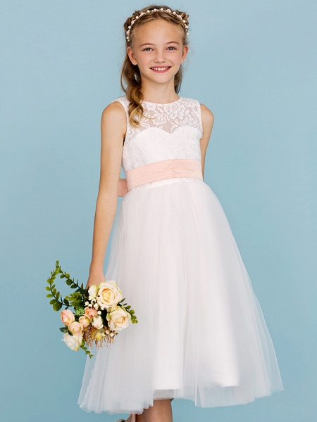 Princess / A-Line Crew Neck Tea Length Lace / Tulle Junior Bridesmaid Dress With Sash / Ribbon / Pleats / Wedding Party / Open Back / See Through_6