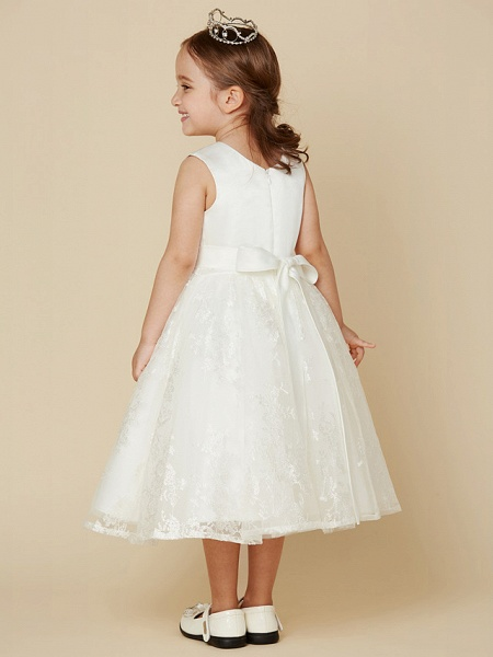 Princess Knee Length Wedding / First Communion Flower Girl Dresses - Lace / Satin Sleeveless Scoop Neck With Sash / Ribbon / Bow(S)_2