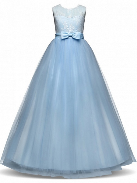 Princess Long Length Party / Birthday / Pageant Flower Girl Dresses - Lace / Tulle Sleeveless Jewel Neck With Lace / Bow(S)_9