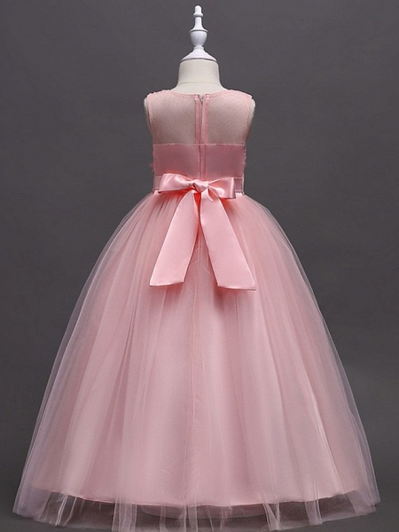Princess / Ball Gown Floor Length Wedding / Party Flower Girl Dresses - Tulle Sleeveless Jewel Neck With Sash / Ribbon / Bow(S) / Appliques_4