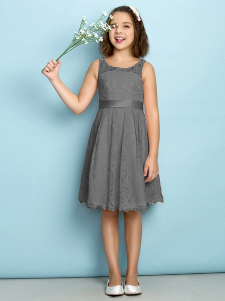 A-Line Scoop Neck Knee Length All Over Floral Lace Junior Bridesmaid Dress With Lace / Natural / Mini Me_24