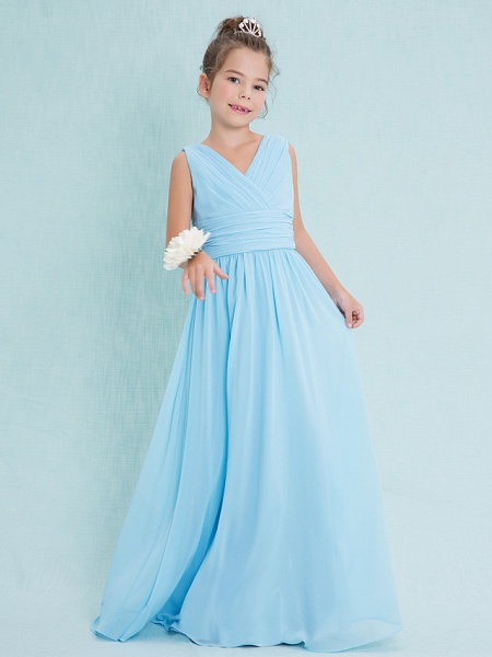 Sheath / Column V Neck Floor Length Chiffon Junior Bridesmaid Dress With Criss Cross / Ruched / Natural_3