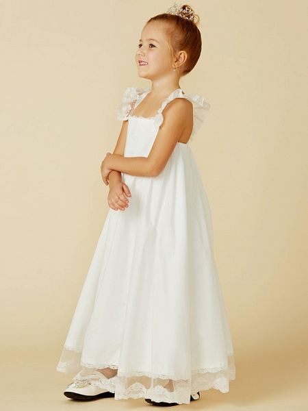A-Line Ankle Length Wedding / First Communion Flower Girl Dresses - Lace / Cotton Sleeveless Straps With Pleats_3