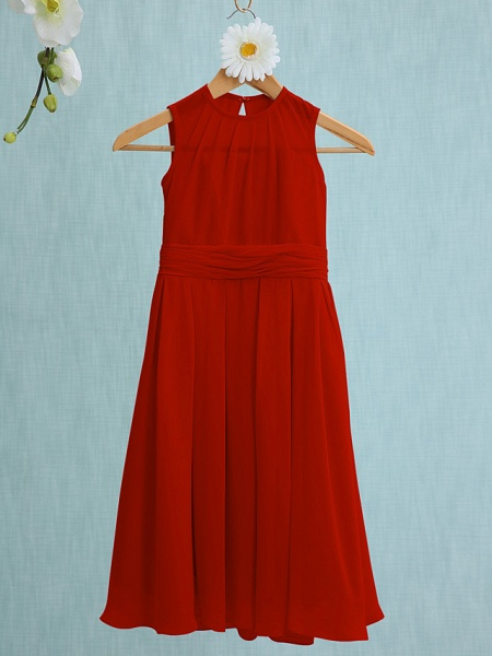 Sheath / Column Jewel Neck Knee Length Chiffon Junior Bridesmaid Dress With Ruched / Natural_12
