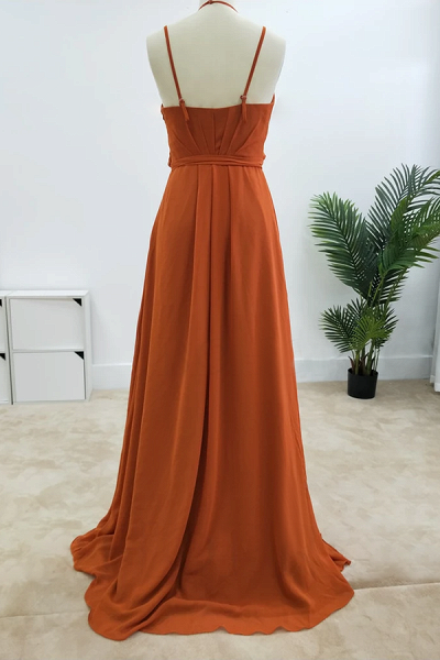 SD2004 Charming A-line Spaghetti Straps Bridesmaid Dresses With Slit_8