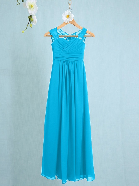 Sheath / Column Straps Ankle Length Chiffon Junior Bridesmaid Dress With Ruched / Natural_29