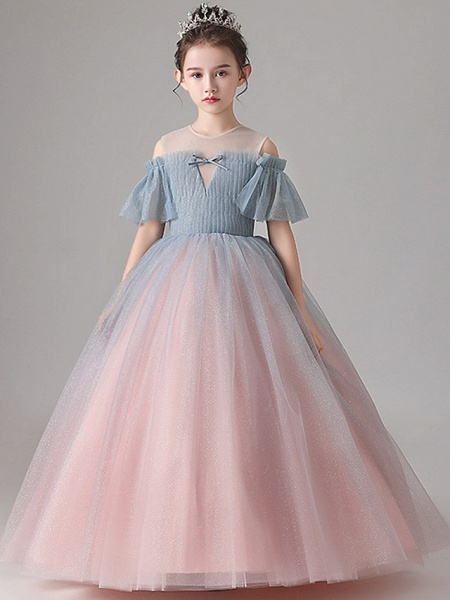 Ball Gown Floor Length Party / Birthday Flower Girl Dresses - Tulle Short Sleeve Jewel Neck With Pleats_2