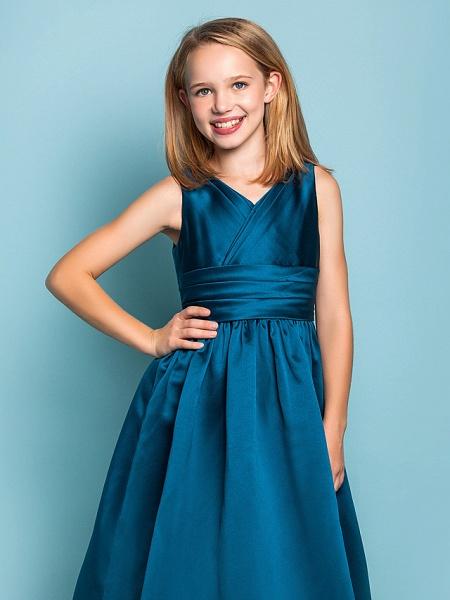 Princess / A-Line V Neck Floor Length Satin Junior Bridesmaid Dress With Sash / Ribbon / Criss Cross / Spring / Summer / Fall / Apple / Hourglass_5