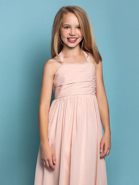 Sheath / Column Halter Neck Floor Length Chiffon Junior Bridesmaid Dress With Ruched / Spring / Summer / Fall / Apple / Hourglass_5