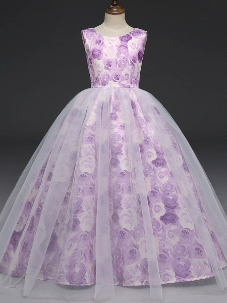A-Line Floor Length Wedding / Party / Pageant Flower Girl Dresses - Tulle / Matte Satin Short Sleeve Jewel Neck With Bow(S)_1