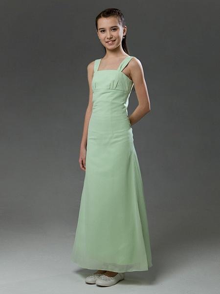 Princess / A-Line Straps Floor Length Chiffon / Satin Junior Bridesmaid Dress With Ruffles / Spring / Summer / Fall / Winter / Apple_3