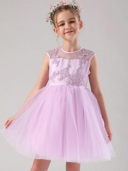 Princess / Ball Gown Medium Length Wedding / Birthday Flower Girl Dresses - Satin / Tulle Sleeveless Jewel Neck With Beading / Appliques / Solid_7
