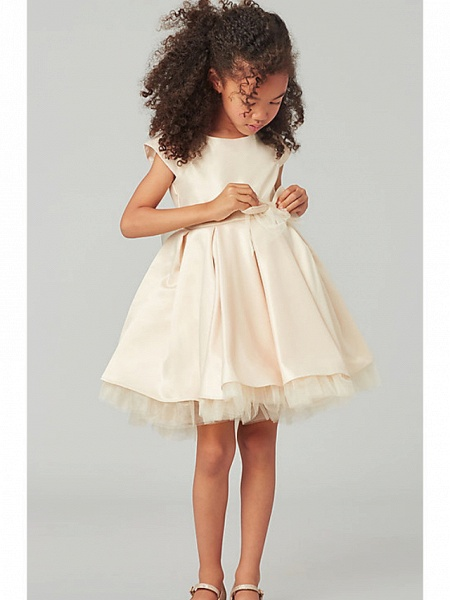 A-Line Knee Length Wedding Flower Girl Dresses - Satin / Tulle Cap Sleeve Jewel Neck With Bow(S) / Solid_1