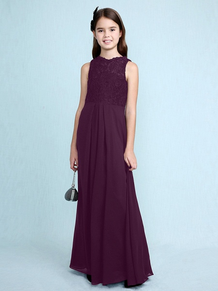 Sheath / Column Scoop Neck Floor Length Chiffon / Lace Junior Bridesmaid Dress With Lace / Natural_20