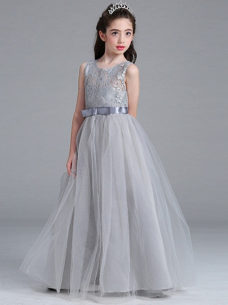 Princess / A-Line Round Floor Length Lace / Tulle Junior Bridesmaid Dress With Bow(S)_7