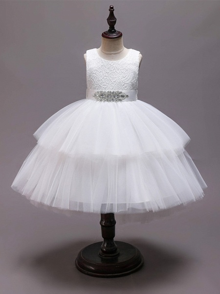 Princess Asymmetrical Wedding / Party / Pageant Flower Girl Dresses - Satin / Tulle Sleeveless Jewel Neck With Belt / Crystals / Rhinestones_4