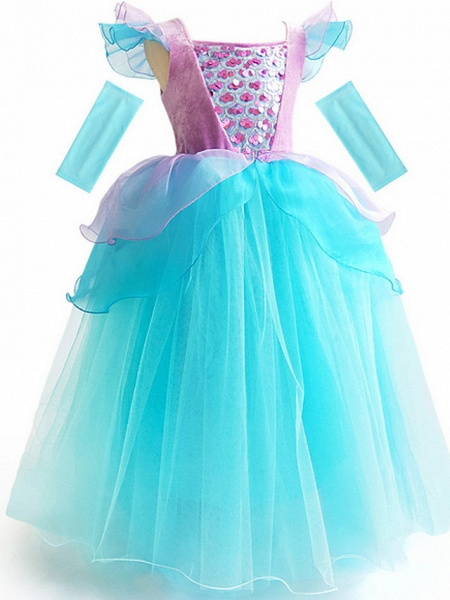 Ball Gown Floor Length Event / Party / Birthday Flower Girl Dresses - Poly Short Sleeve Scoop Neck With Cascading Ruffles / Color Block / Paillette_2