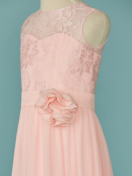 A-Line Jewel Neck Floor Length Chiffon / Lace Junior Bridesmaid Dress With Lace / Sash / Ribbon_4
