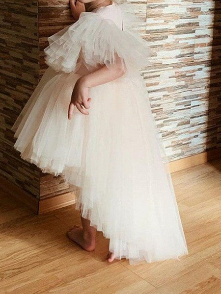 Princess / Ball Gown Knee Length Wedding / Party Flower Girl Dresses - Tulle Short Sleeve / Sleeveless V Neck With Tier / Appliques_3