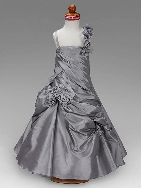 Princess / A-Line Floor Length Wedding Party Taffeta Sleeveless Spaghetti Strap With Pick Up Skirt / Side Draping / Flower / Spring / Summer / Fall / Winter_4