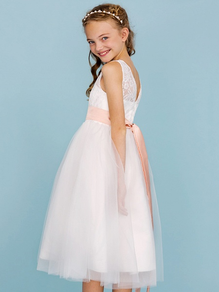 Princess / A-Line Crew Neck Tea Length Lace / Tulle Junior Bridesmaid Dress With Sash / Ribbon / Pleats / Wedding Party / Open Back / See Through_7