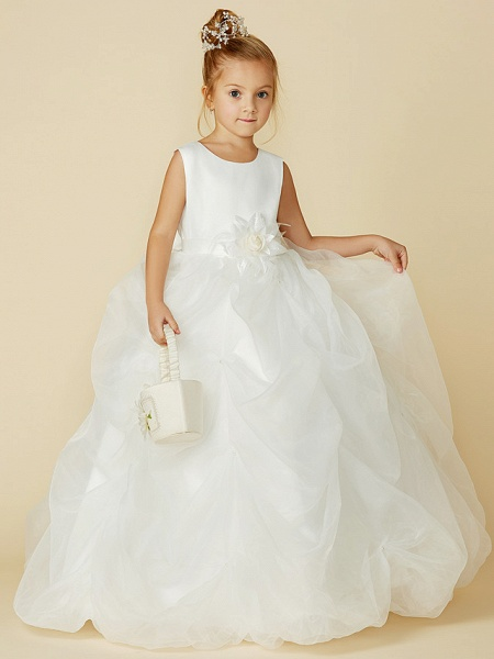 Ball Gown Floor Length Wedding / First Communion Flower Girl Dresses - Organza / Satin Sleeveless Jewel Neck With Sash / Ribbon / Bow(S) / Flower