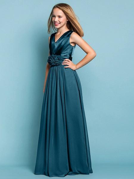 Sheath / Column V Neck Floor Length Chiffon Junior Bridesmaid Dress With Flower / Spring / Summer / Fall / Apple / Hourglass_34