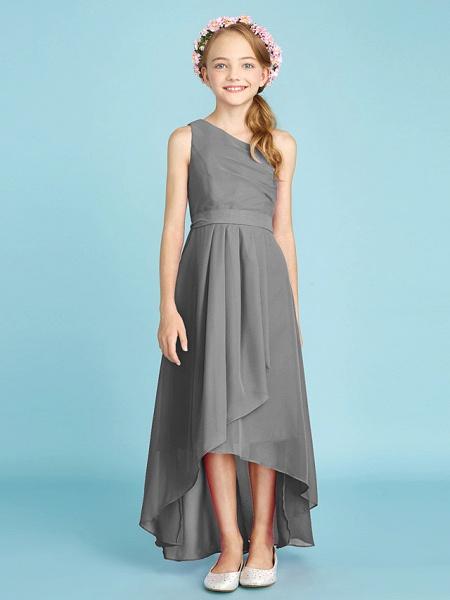 A-Line One Shoulder Asymmetrical Chiffon Junior Bridesmaid Dress With Sash / Ribbon / Bow(S) / Side Draping / Natural_28