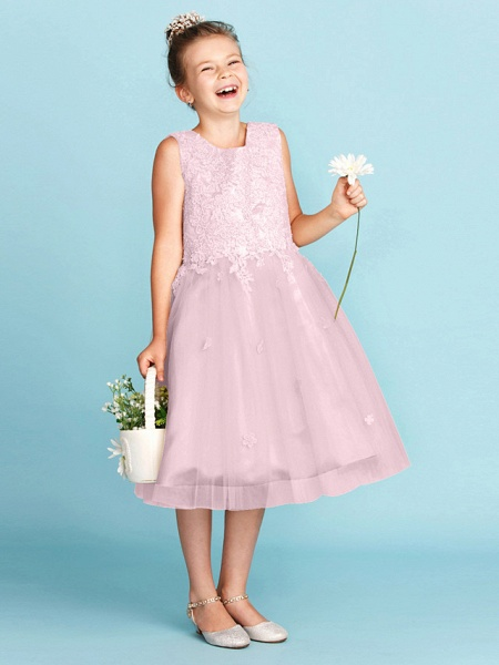 Princess / A-Line Jewel Neck Knee Length Lace / Tulle Junior Bridesmaid Dress With Bow(S) / Appliques / Wedding Party_30