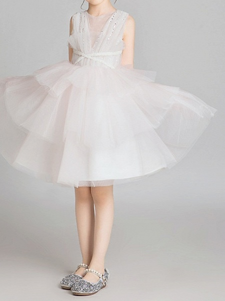 Princess Knee Length Pageant Flower Girl Dresses - Lace Sleeveless Jewel Neck With Bow(S)_3