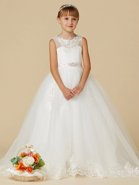 Princess Sweep / Brush Train Wedding / First Communion Flower Girl Dresses - Lace / Tulle Sleeveless Jewel Neck With Belt / Beading / Appliques_1