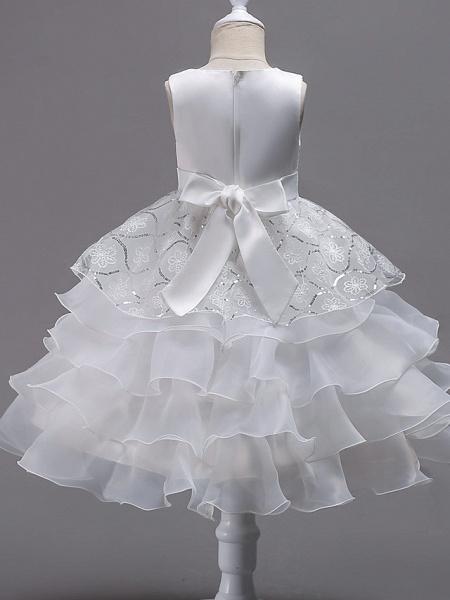 Princess Midi Wedding / Birthday / Pageant Flower Girl Dresses - Organza / Satin Sleeveless Jewel Neck With Bow(S) / Embroidery / Crystals / Rhinestones_2