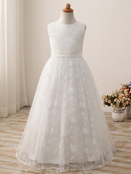 Ball Gown Long Length Wedding / First Communion / Birthday Flower Girl Dresses - Tulle / Cotton Sleeveless Jewel Neck With Embroidery / Solid_1