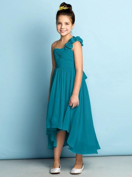 A-Line One Shoulder Asymmetrical Chiffon Junior Bridesmaid Dress With Criss Cross / Flower / Natural / Mini Me_30