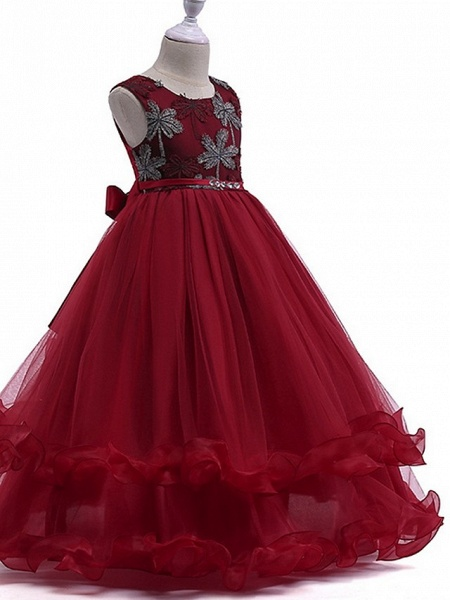 Princess Round Floor Length Cotton Junior Bridesmaid Dress With Bow(S) / Crystals / Appliques_2
