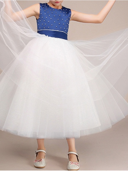 Ball Gown Ankle Length Pageant Flower Girl Dresses - Polyester Sleeveless Jewel Neck With Bow(S)_3